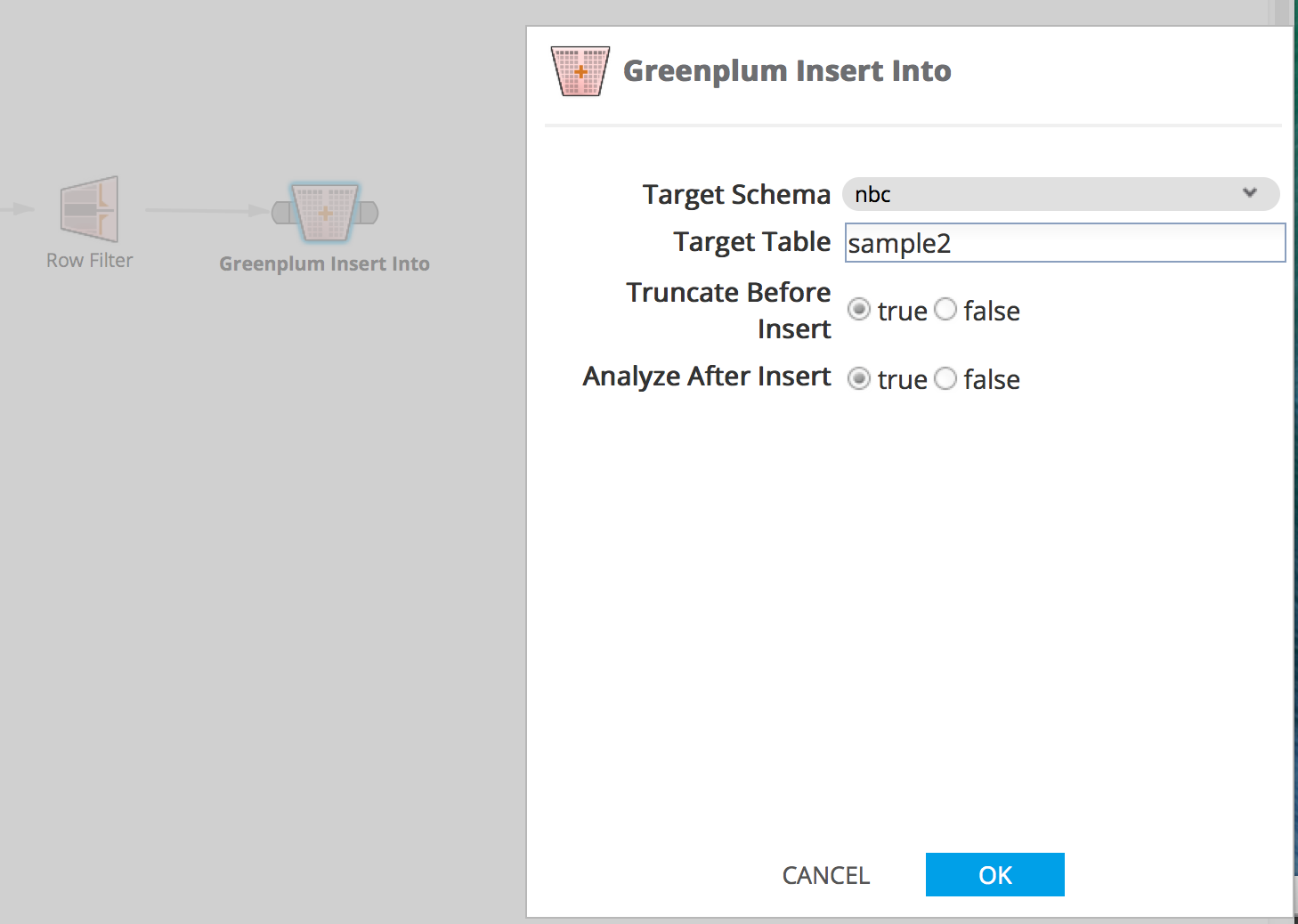 Greenplum Insert Operator Parameters
